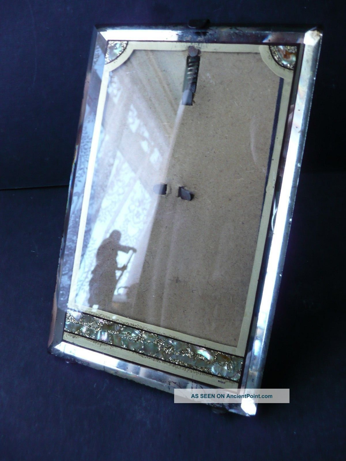 Mirrored Antique Photo Frame C 1900s Inlaid Mother Of Pearl Abalone Art Deco photo