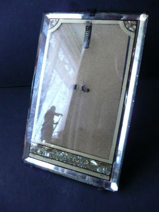 Mirrored Antique Photo Frame C 1900s Inlaid Mother Of Pearl Abalone photo
