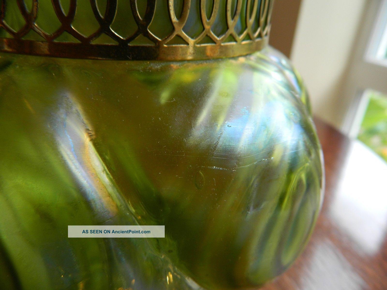 A Art Nouveau Loetz Kralik Glass Bowl Frog Iridescent G.  Cond Art Nouveau photo