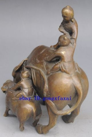 China Old Brass Hand - Carved Statue Art Three Children Two Cows photo