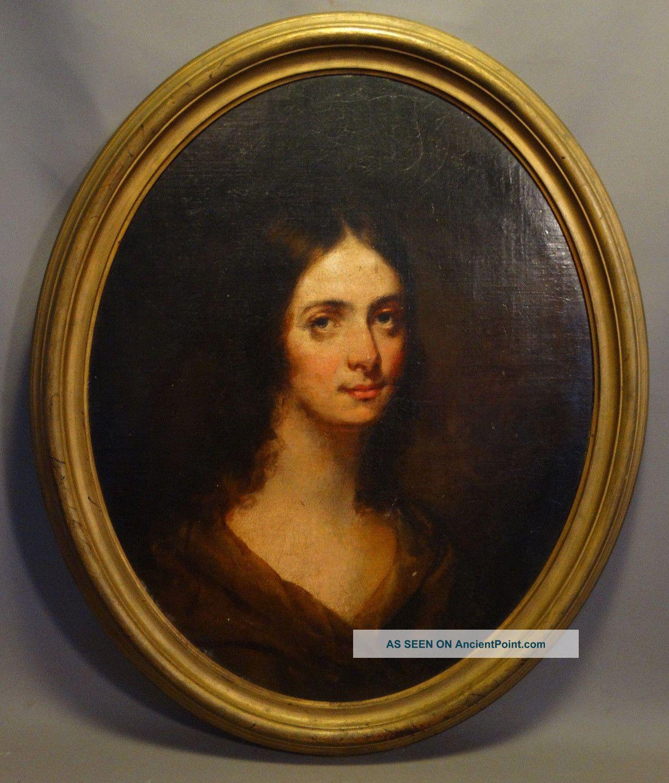 Ca.  1850 Pre Civil War Antique Victorian Era Oval Lady Oil Portrait Painting Other Antique Decorative Arts photo