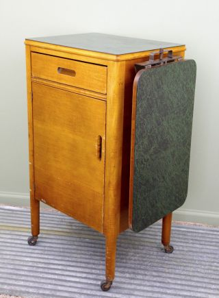 Vintage Wood Doctor Dentist Medical Cabinet Apothecary Industrial Side Table Old photo