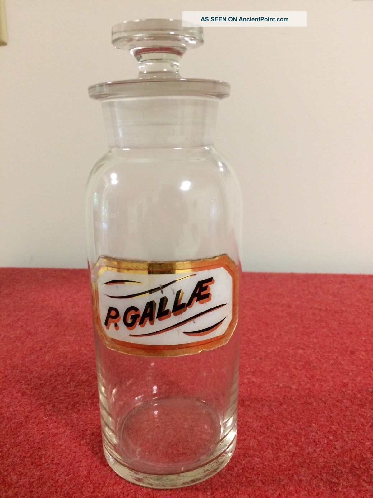 Vintage P.  Gallae Apothecary Glass Bottle W/stopper Bottles & Jars photo
