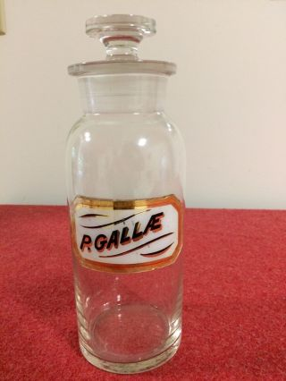 Vintage P.  Gallae Apothecary Glass Bottle W/stopper photo