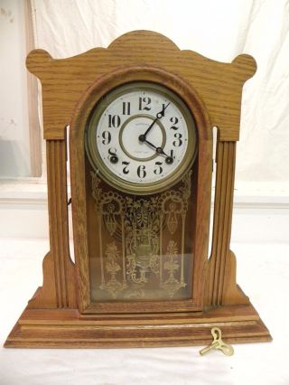 Antique American Ingraham Fine Oak Parlor Clock.  Circa 1910.  And Running photo
