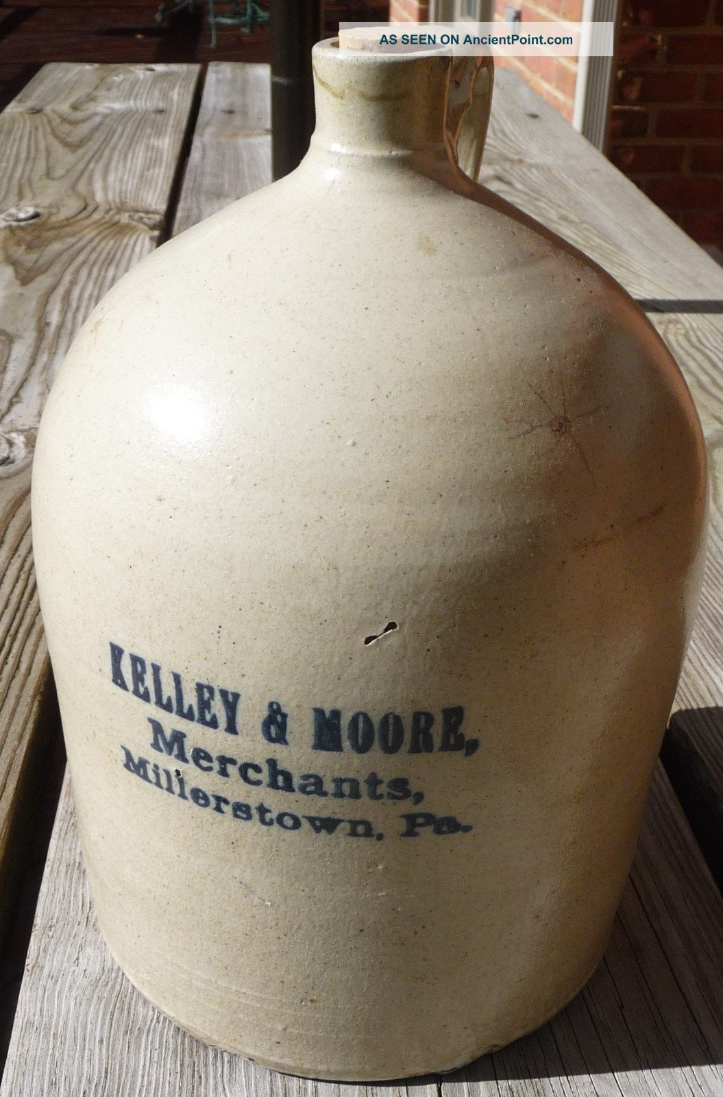 Vintage Kelley & Moore Merchants Millerstown,  Pa 1 Gallon Crock Jug Blue Letters Crocks photo