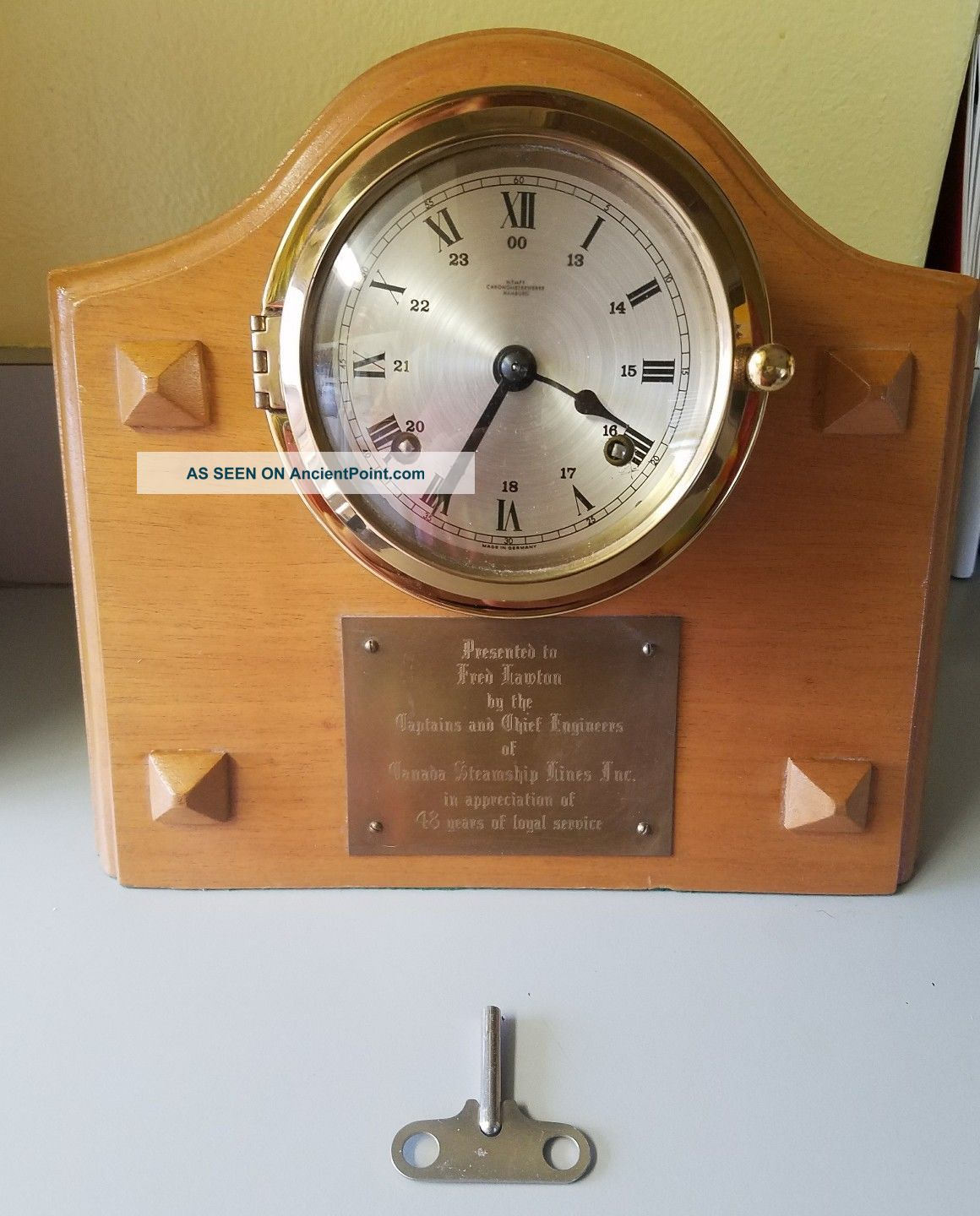 Key Run Wempe Chronometerwerke Brass Ships Bell 24hr Clock Off Canada Steamship Clocks photo