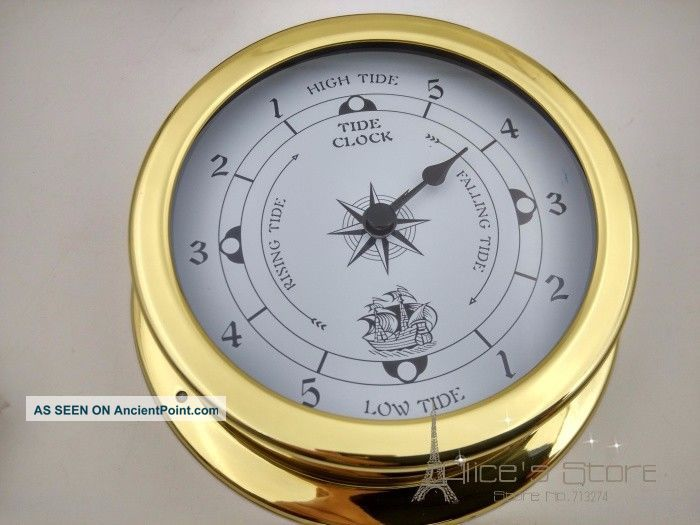 1pcs 115mm Brass Case Traditional Tide Clock Ship Equipment photo