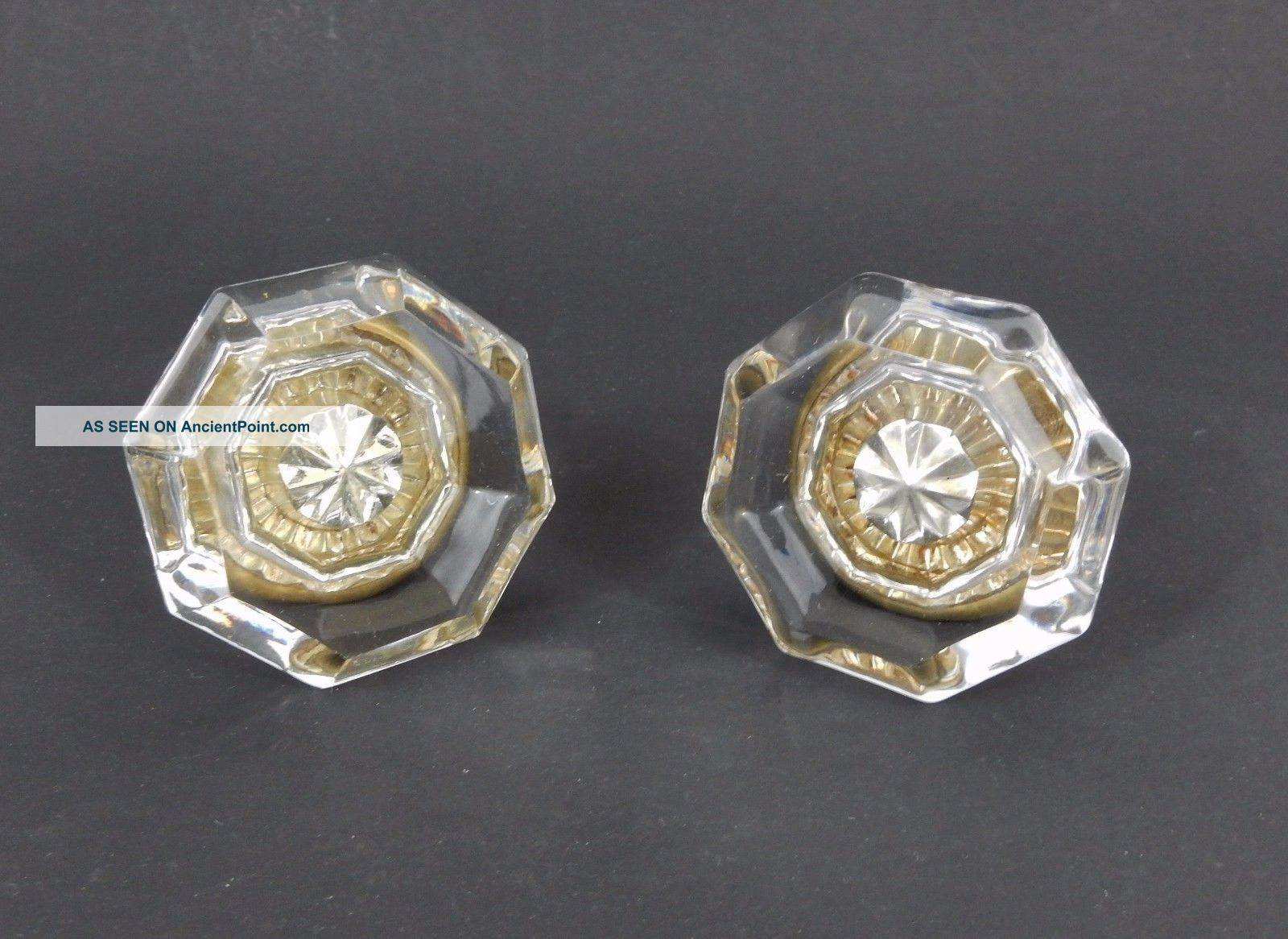 Antique 8 Point Octagonal Glass Door Knob Pair With Center Star 2 1/4