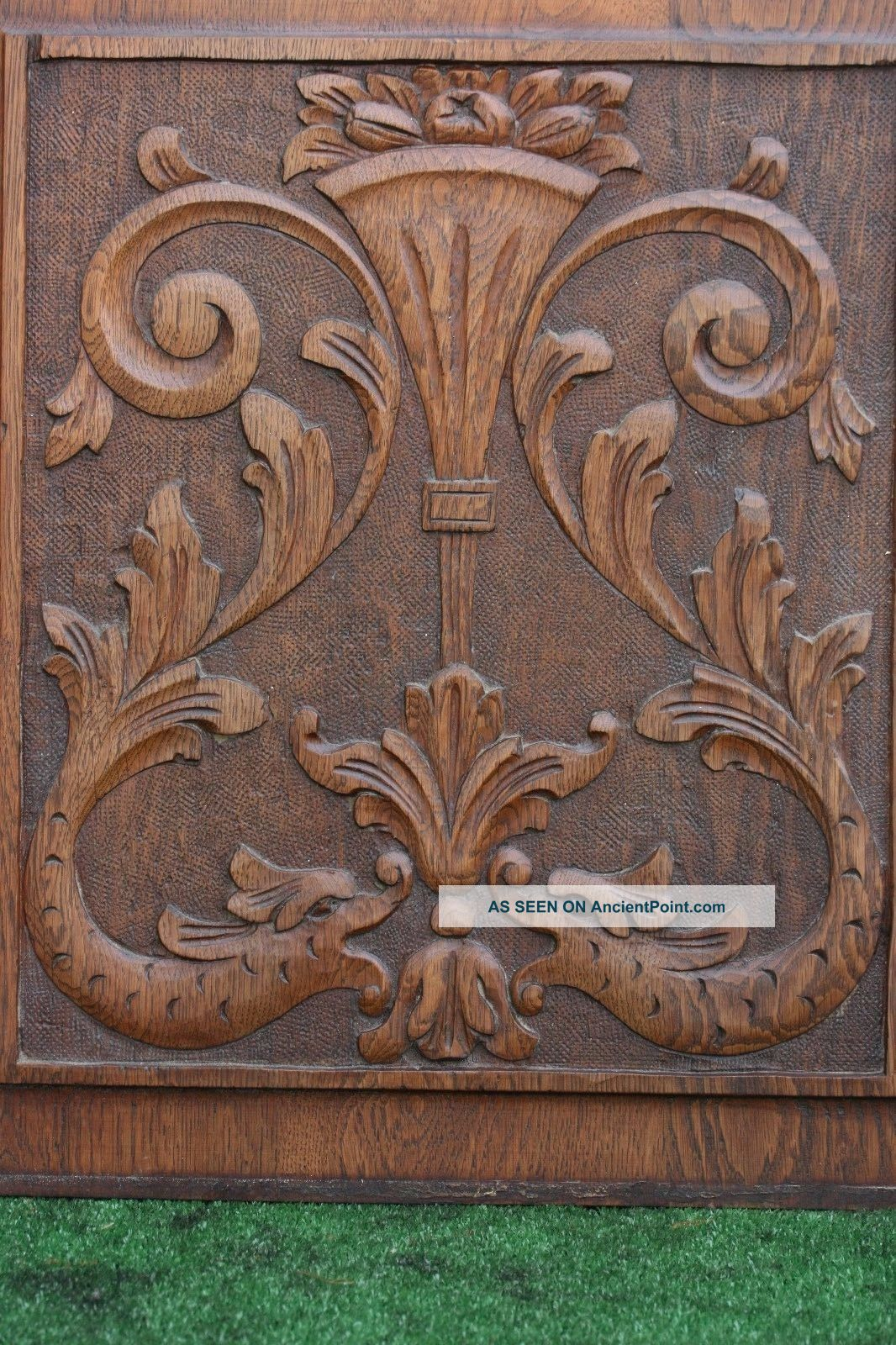 19thc Wooden Oak Panel With Dolphins,  Urn,  Leaves & Other Carving C1880s Other Antique Woodenware photo