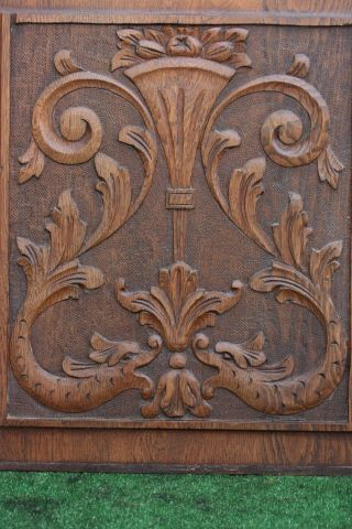 19thc Wooden Oak Panel With Dolphins,  Urn,  Leaves & Other Carving C1880s photo