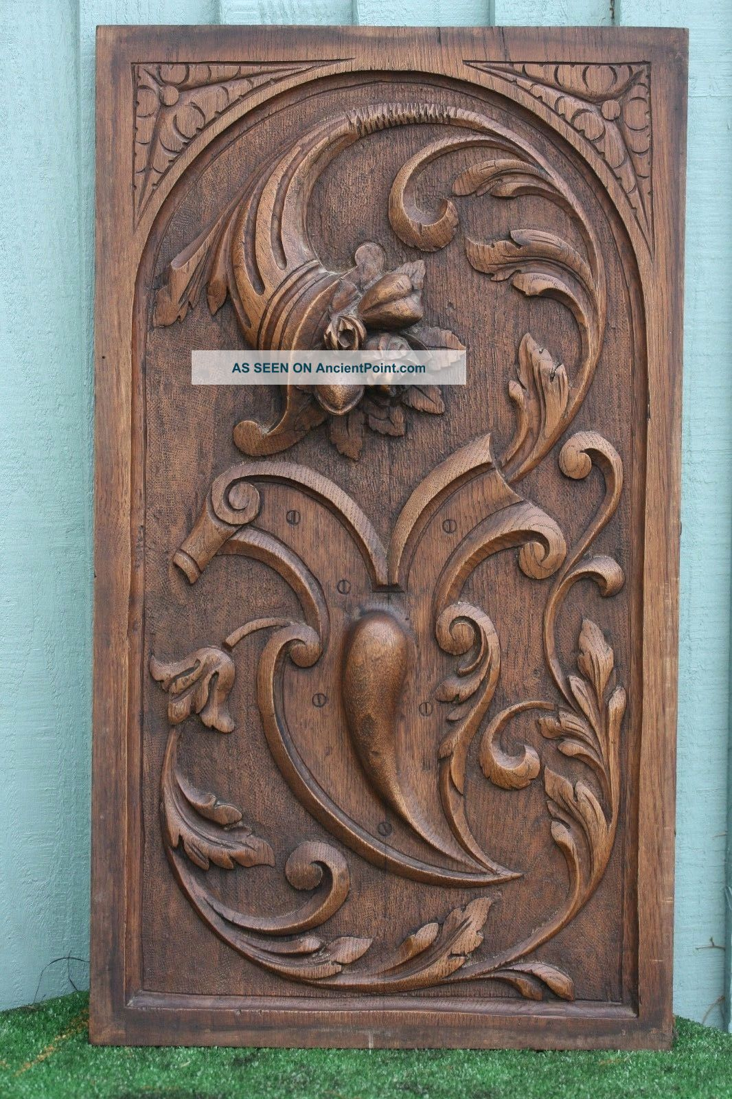 19thc Wooden Oak Panel With Cornucopia Of Fruits,  Flowers & Leaves C1880s Other Antique Woodenware photo