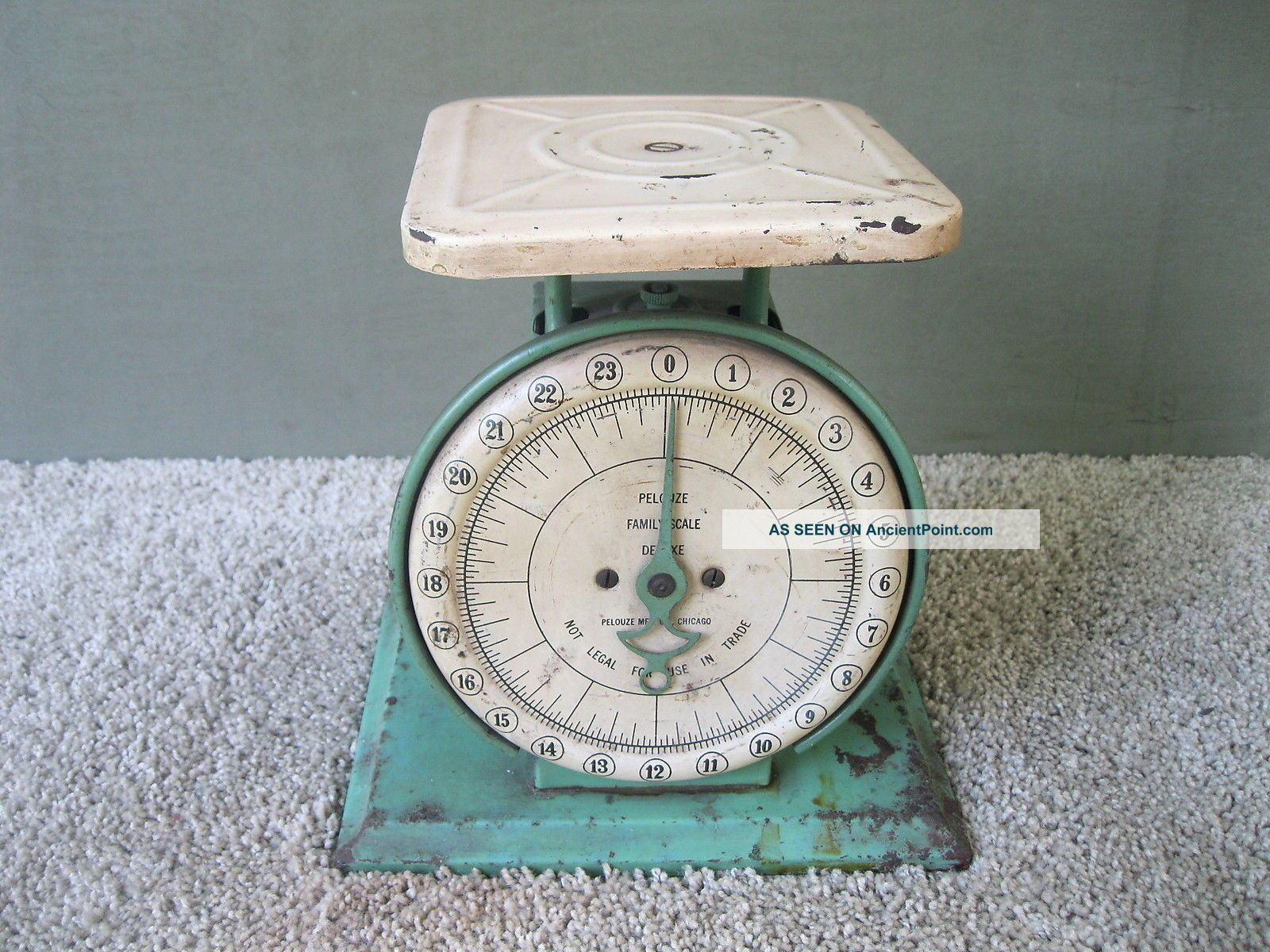 Antique Scale Pelouze Kitchen Family Old Green Paint 24 Lbs Chicago Il Scales photo