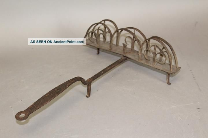 An Extremely Fine 18th C Wrought Iron Revolving Toaster In Surface Primitives photo