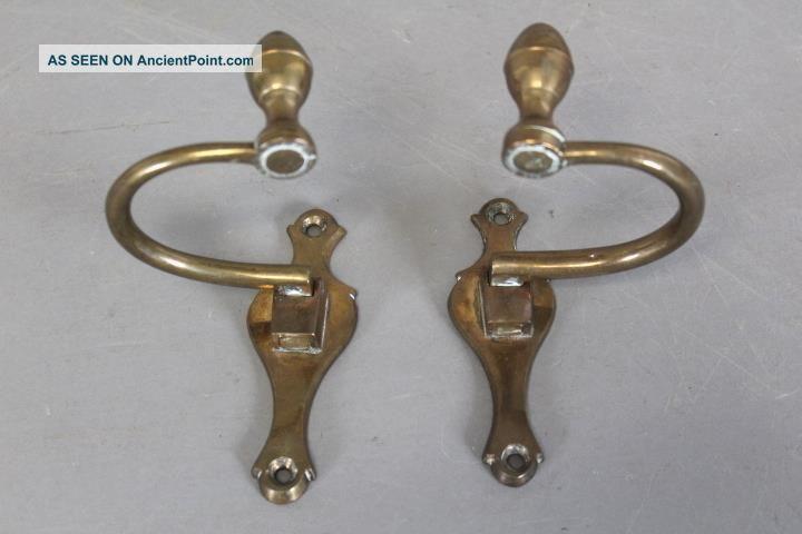 Best Pair 18th C American Bell Metal Lemon Top Jamb Hooks Back - Plates Primitives photo