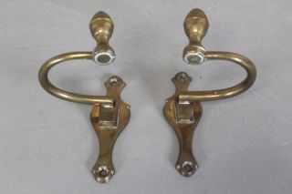 Best Pair 18th C American Bell Metal Lemon Top Jamb Hooks Back - Plates photo