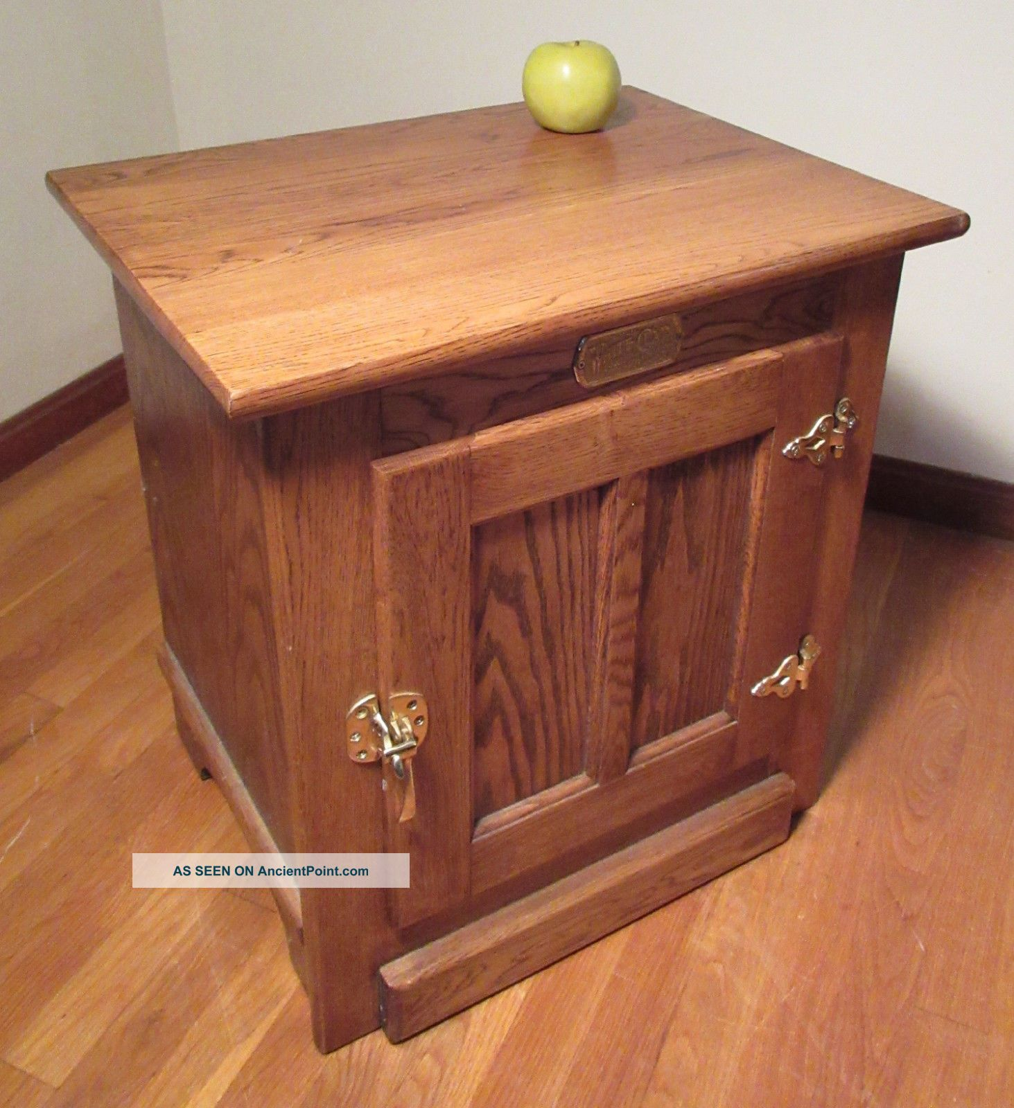 Amish Made Solid Oak White Clad Icebox Cabinet End Table W/brass Hardware Ice Boxes photo