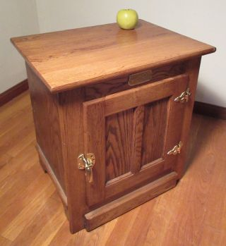 Amish Made Solid Oak White Clad Icebox Cabinet End Table W/brass Hardware photo