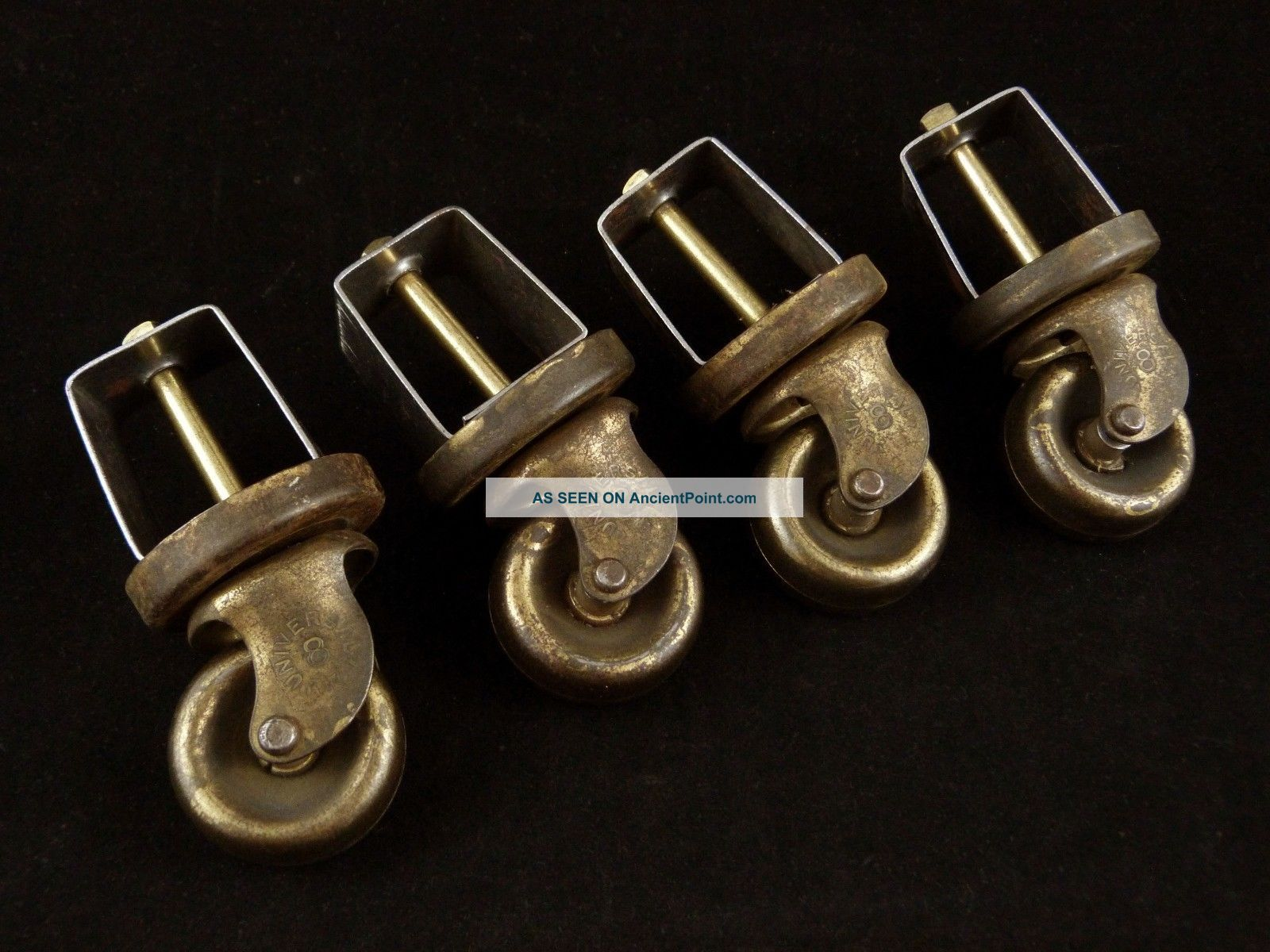 4 Vintage Heavy Duty Industrial Brass Casters Swivel Wheels ' Universal 8 ' Bed Other Antique Hardware photo
