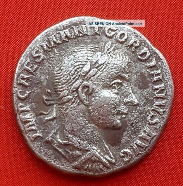4roman Silver Coin.  Gordiano.  3.  6g; 1.  7mm Roman photo