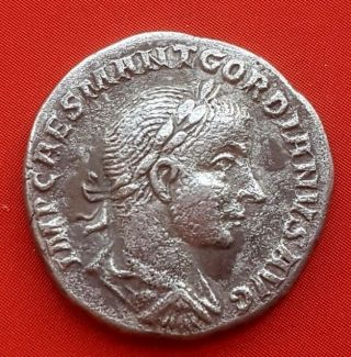 4roman Silver Coin.  Gordiano.  3.  6g; 1.  7mm photo