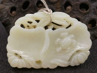 China Exquisite Hand - Carved Lotus And Turtle Carving Hetian Jade Pendant photo