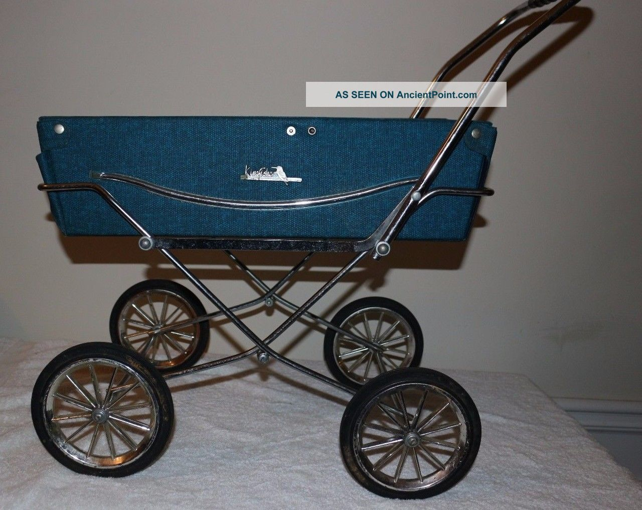 King Fisher Vintage Baby Carriage Stroller Blue Toy Doll Holder Bed Baby Carriages & Buggies photo
