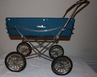 King Fisher Vintage Baby Carriage Stroller Blue Toy Doll Holder Bed photo