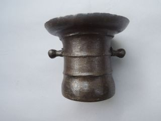 Elegant 18th - 19th Century Antique German Iron Mortar Embellished W/ Ribs & Lugs photo