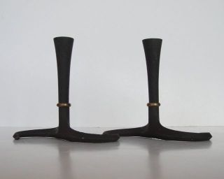 Vintage 1960 ' S Dansk Designs Cast Iron Candleholders Jens Quistgaard photo