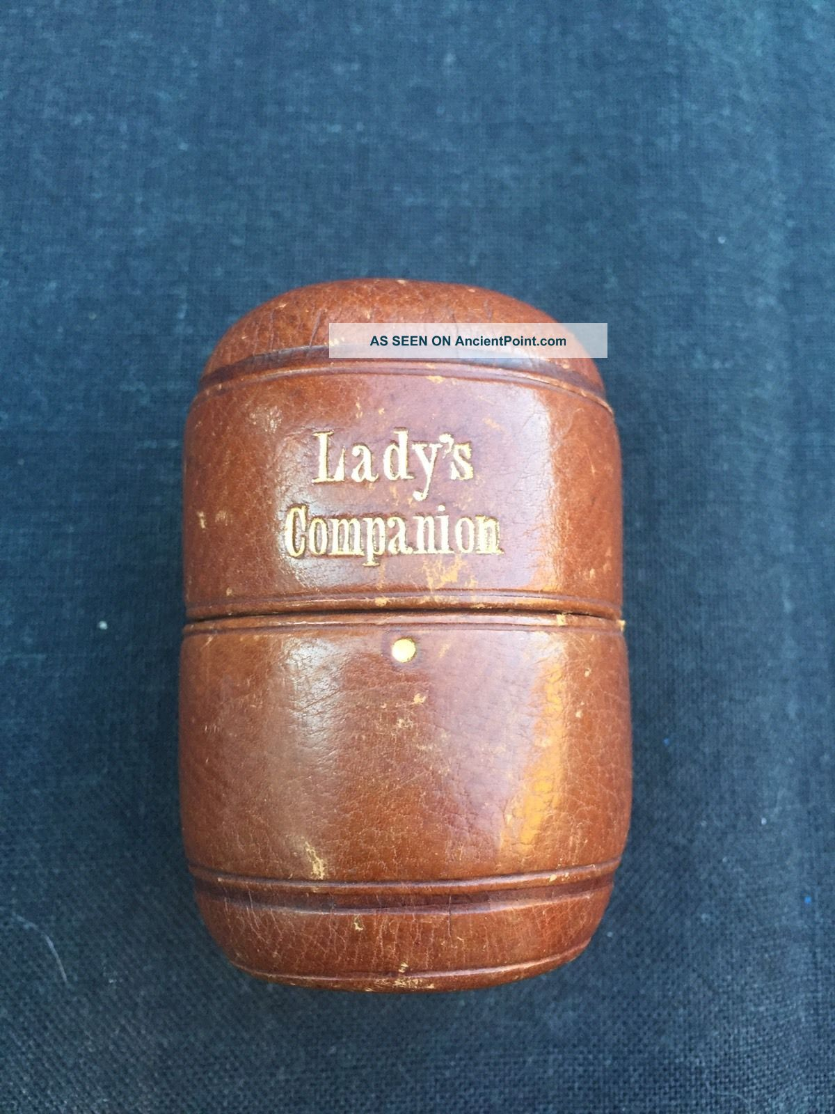 Lady ' S Companion Sewing Box Leather Empty 2 3/4