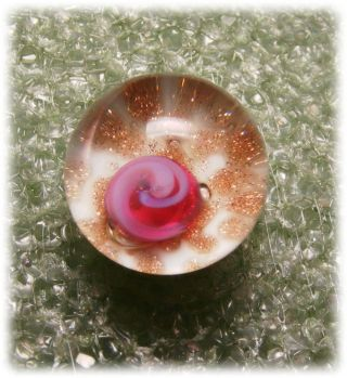 Vintage Delicate Paperweight Button W Pink Rosette & Goldstone Sparkels photo