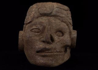 Stunning Pre Columbian Mayan Stone Dual Face Maskete Antique Statue Olmec Aztec photo