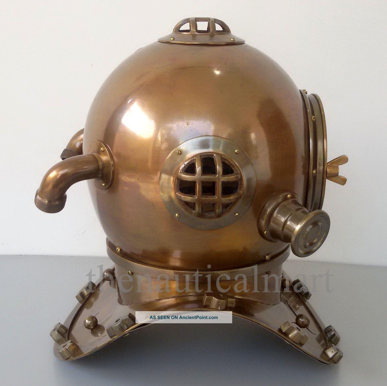 Vintage Antique Diving Divers Helmet Solid Steel U.  S Navy Mark V Full Size 18