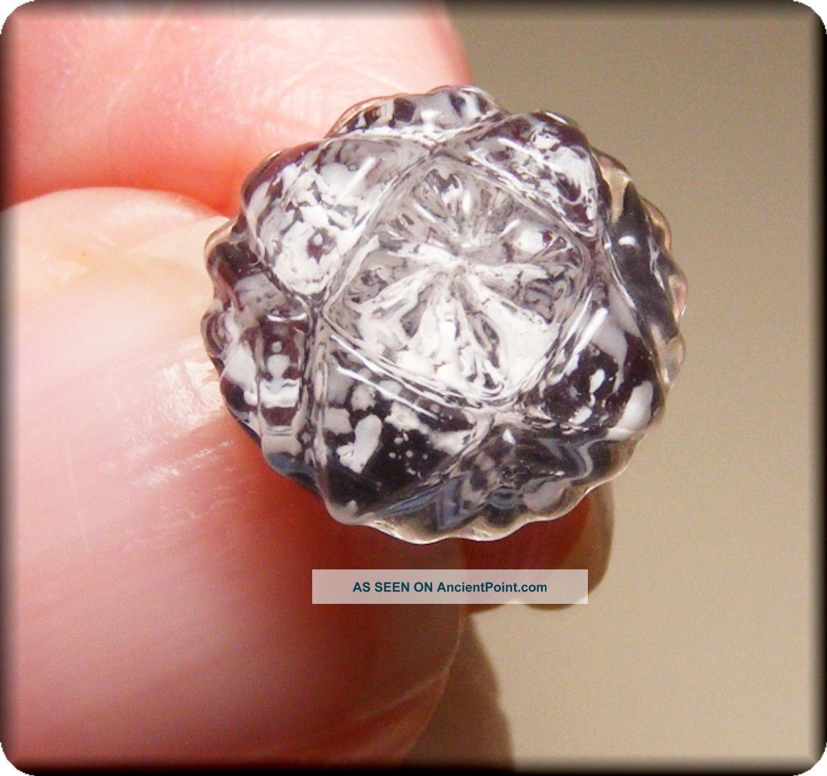 Rare Molded Crystal Glass Button W Purple Base W White Spots Center W Glass Cap Buttons photo