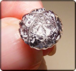 Rare Molded Crystal Glass Button W Purple Base W White Spots Center W Glass Cap photo