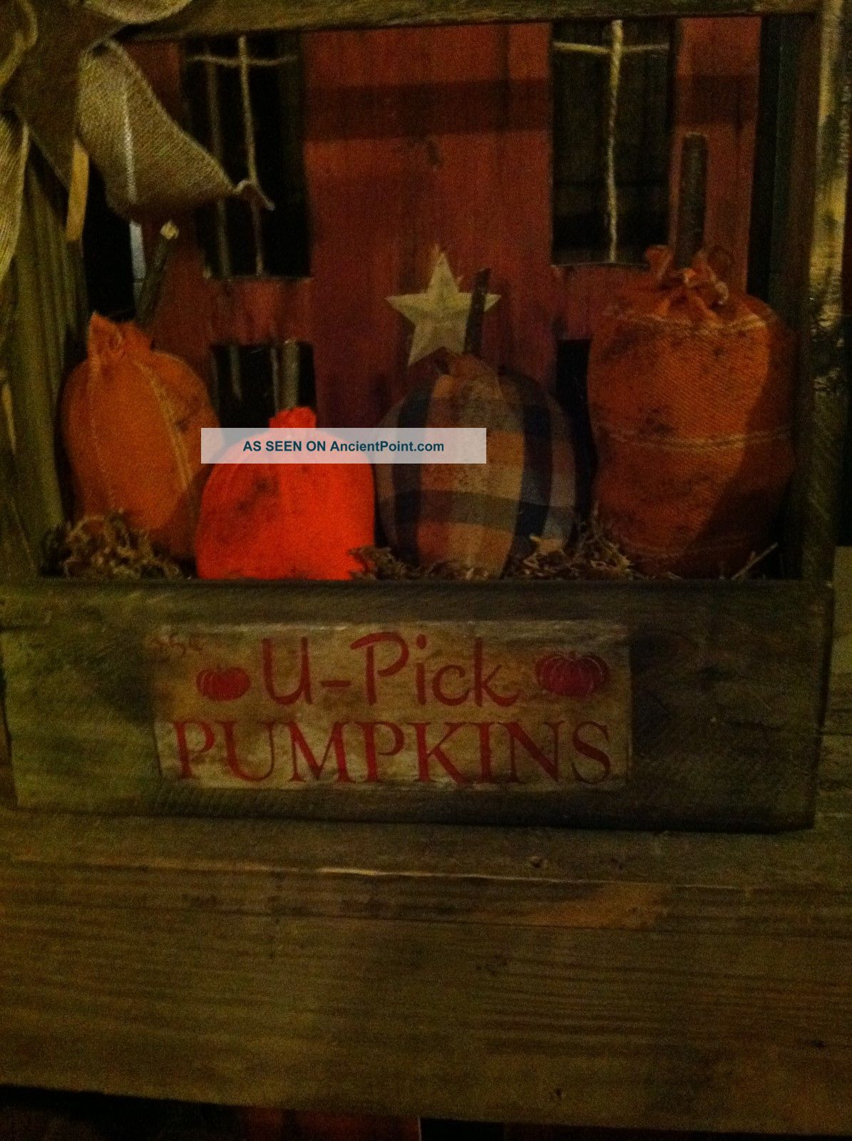 Primitive Halloween Fall Pumpkin Ornies In A Wooden Toolbox Decor Primitives photo