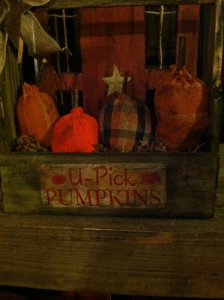 Primitive Halloween Fall Pumpkin Ornies In A Wooden Toolbox Decor photo