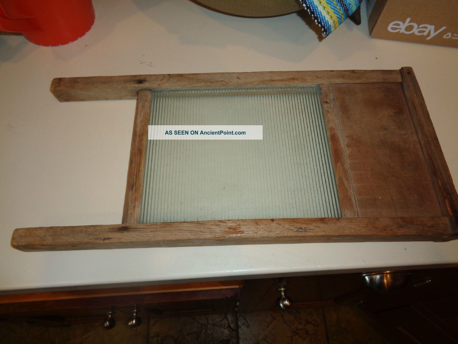Vintage Victory Glass Laundry Wash Board 18 Inch Primitives photo