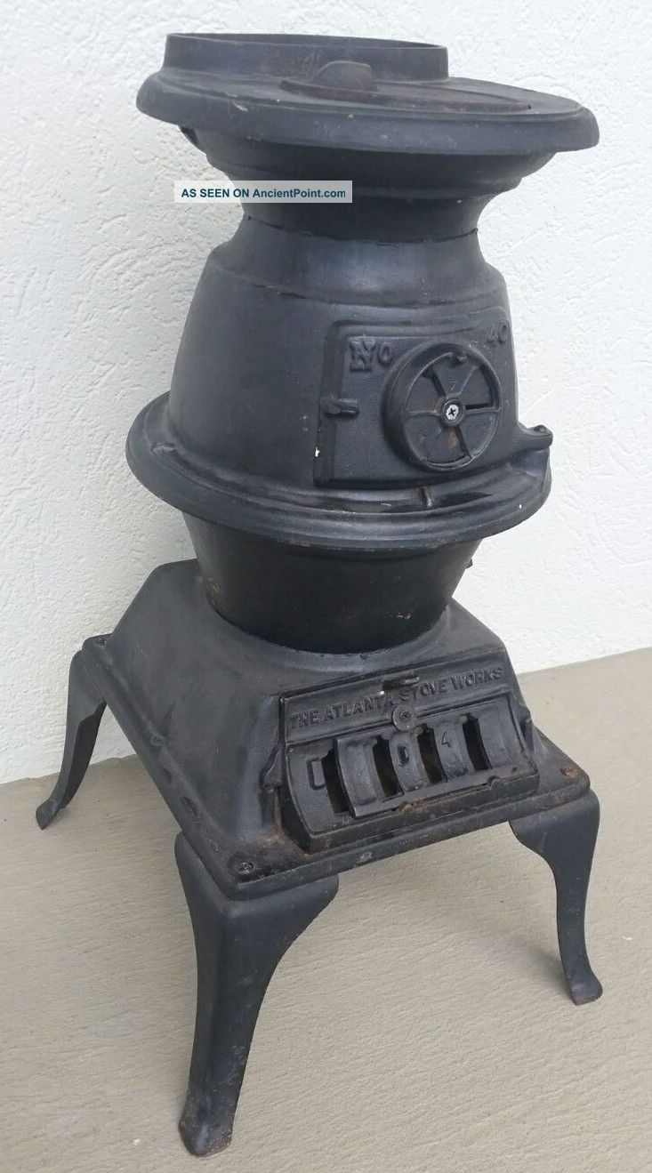 Atlanta Stove Cast Iron Pot Belly Stove Exc Cond 40 Wood/coal Complete Stoves photo