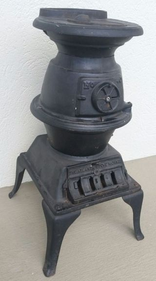 Atlanta Stove Cast Iron Pot Belly Stove Exc Cond 40 Wood/coal Complete photo
