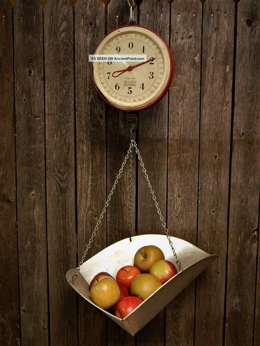 Vintage Red Chatillon Hanging Produce Scale 20lb Rustic Farmhouse Primitives photo