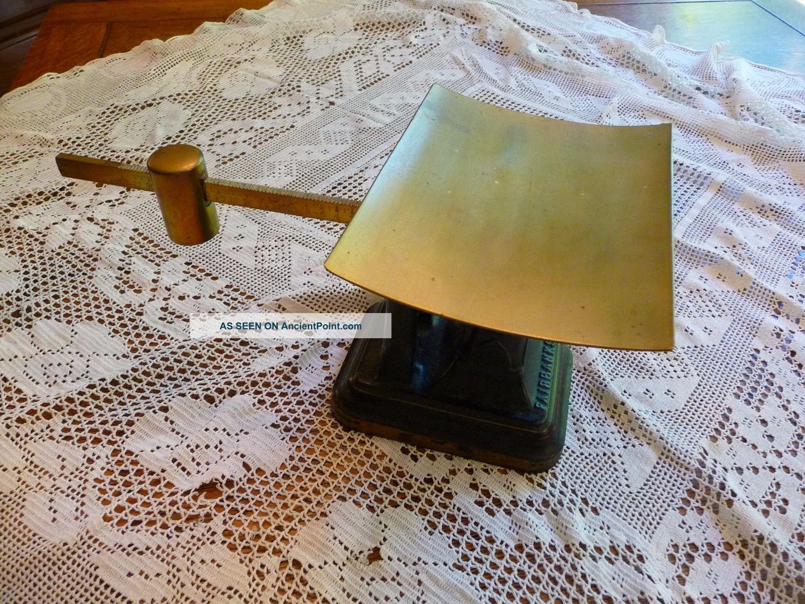 Antique Fairbanks 34 Oz Cast Iron & Brass Sliding Scale Balance Scales photo