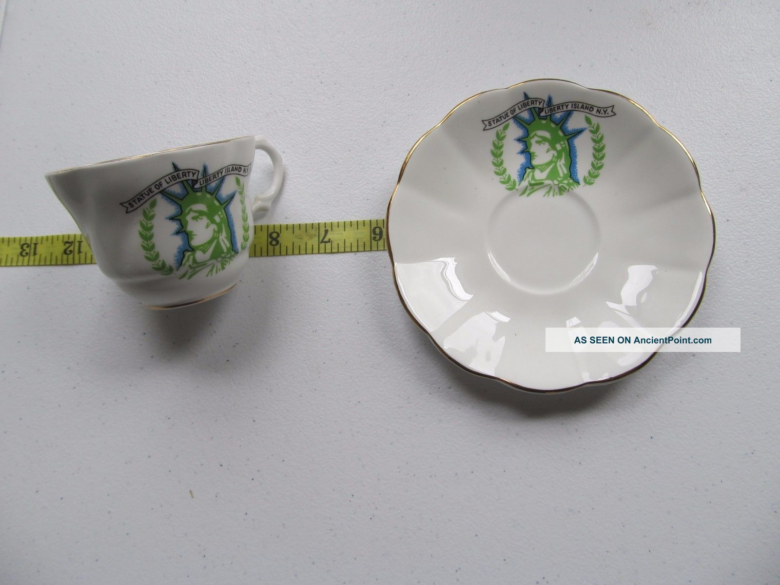 Vintage Statue Of Liberty Ny Fine Bone China Porcelain Tea Cup & Saucer Guc Cups & Saucers photo