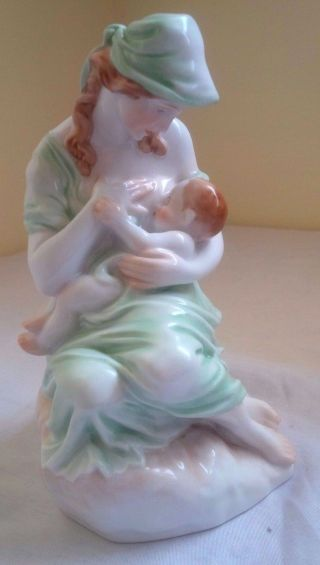 Herend Motherhood Young Mother Nurturing Baby Green Glaze Porcelain Figurine 8