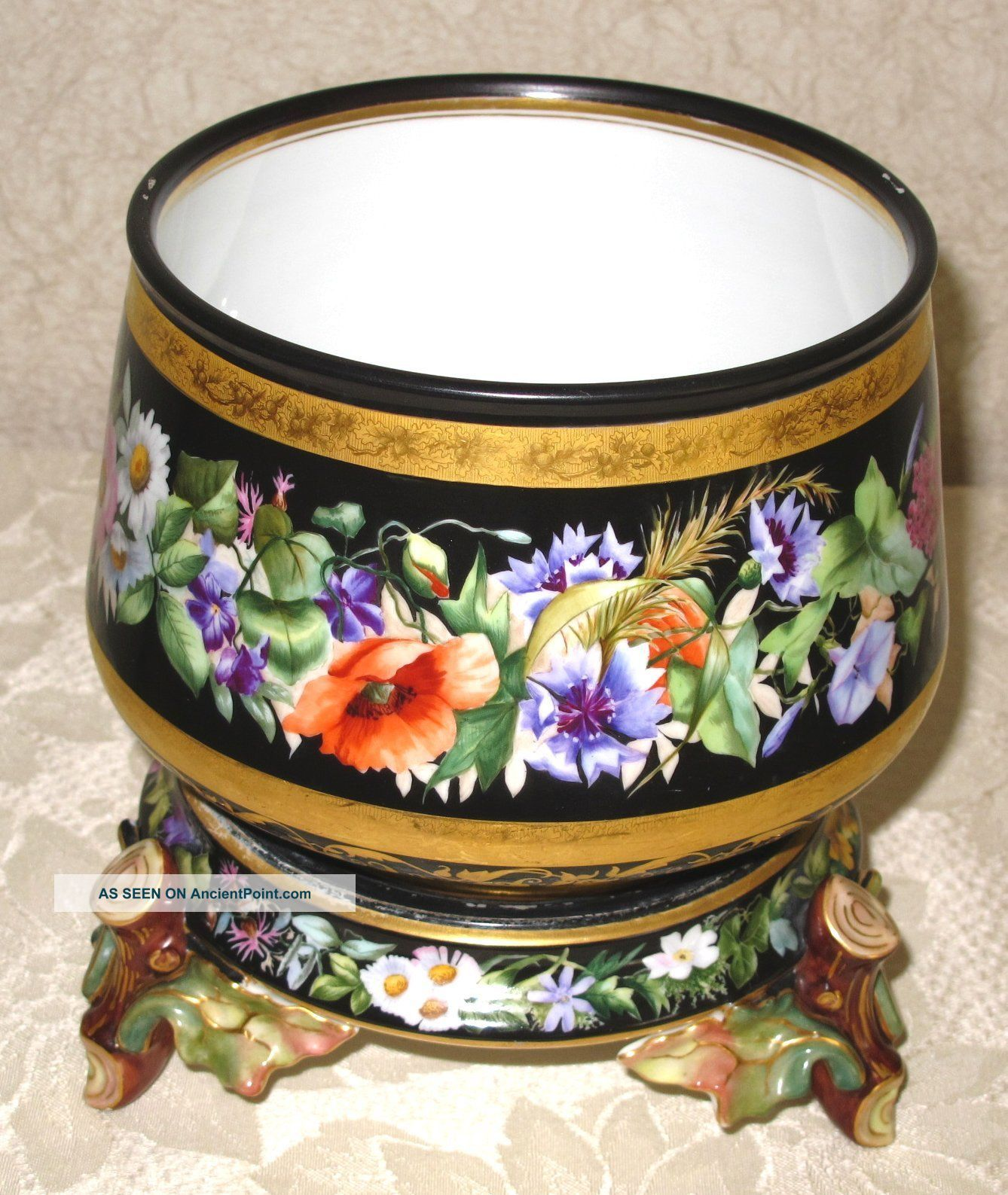 Hand Painted Floral Jardiniere Planter & Stand - Germany Planters photo