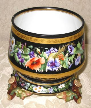 Hand Painted Floral Jardiniere Planter & Stand - Germany photo