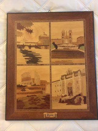 "Vintage Rome Italy Marquetry Inlaid Wood Scenic Picture Wall Art 14"" X 11.  5"