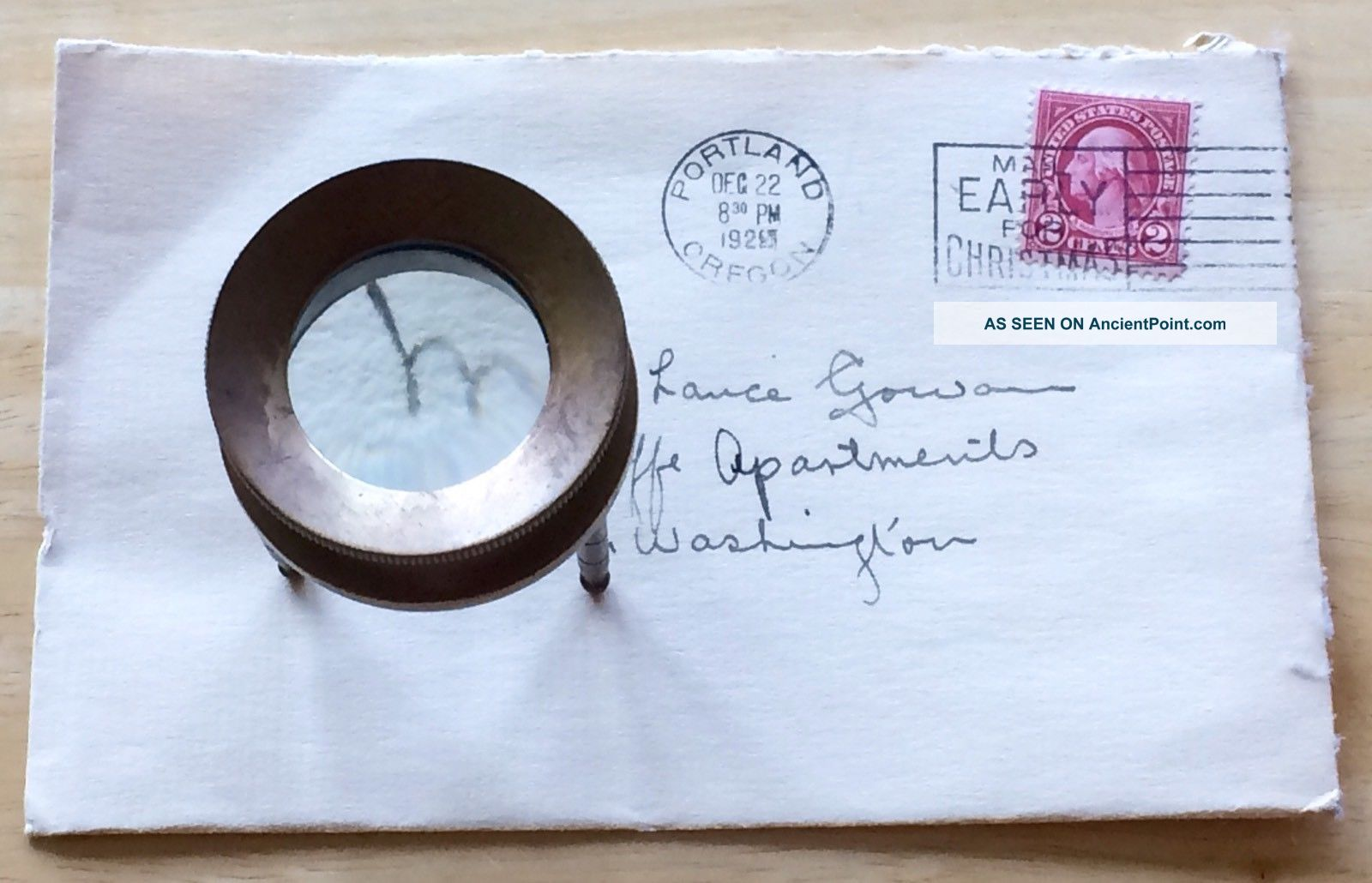 Edwardian Brass Tripod Nautical Magnifier 3 Legs Library Magnifying Glass Optical photo