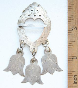 Antique Vintage Ethnic Ornament Heart Shape Brooch With Pendants photo